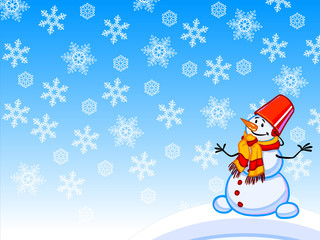 The winter cartoon illustration of a snowman with snowflakes.
