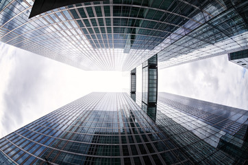 Fish-eye View of Modern Buildings in Munich, Germany during a Cl