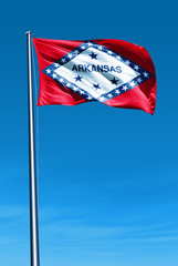 Arkansas (USA) flag waving on the wind