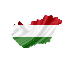 Map of Hungary with waving flag isolated on white