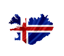 Map of Iceland with waving flag isolated on white