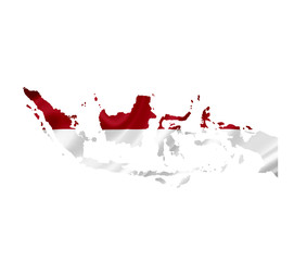 Map of Indonesia with waving flag isolated on white