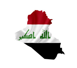 Map of Iraq with waving flag isolated on white