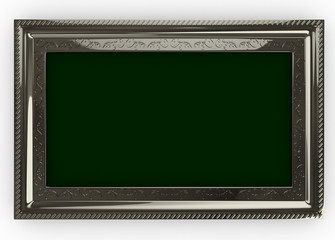 3d Silver Frame with Theme - isolated