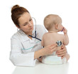 Doctor auscultating child baby patient heart with stethoscope