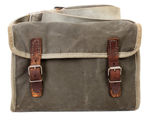 Old vintage bag with pockets and leather belts