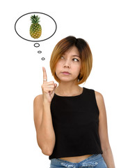woman thinking pineapple