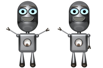 3D Illustration of a Cute Happy Robot in 2 poses