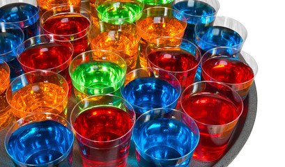 Shot glasses on tray