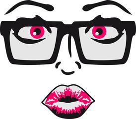 Sexy Nerd Geek Girl Frau Mädchen Heiß