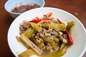 Fried Lotus Stems with Mackerel Fish