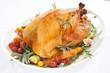 Roasted Turkey on tray over white