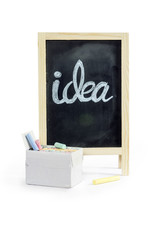 Blank blackboard with chalk  on white: Clipping path