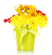 bouquet of beautiful summer flowers in bucket, isolated on