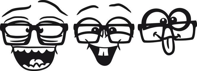 Nerds Geeks Freunde Team Crew Hornbrille
