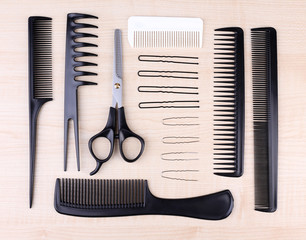 Professional hairdresser tools - comb, scissors and pins