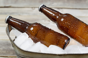 Cold Bottled Beer on Ice
