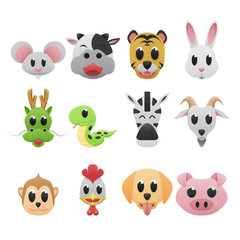 12 zodiac is cartoons icon cute of paper cut