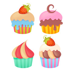 Set of tasty colorful muffins