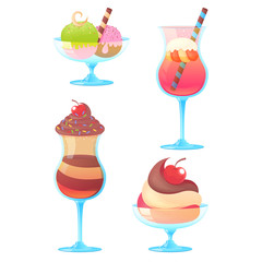 Delicious realistic ice-cream set on white background