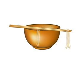 Wooden chopsticks holding noodles lying on bowl
