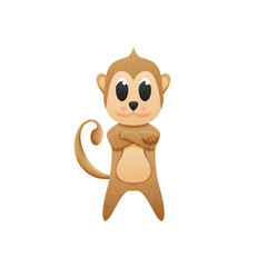 monkey with illustration cute cartoon of paper cut