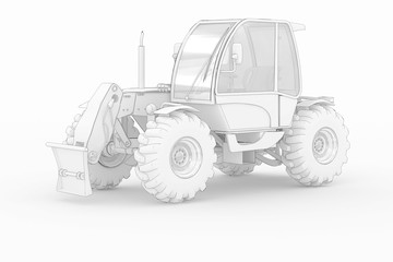 Industry Tractor - white isolated