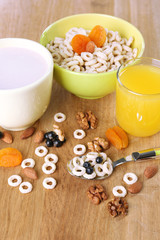 Healthy breakfast with cereal and milk, close up