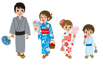 Yukata family Isolated,Front view