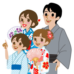 Yukata family Isolated,Waist Up