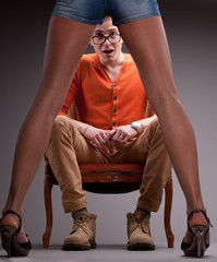 man amazed by sexy woman legs