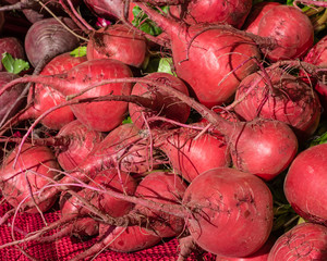 Red beets at the farmers market
