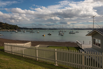 boats moored in Bay of Islands, New Zealand