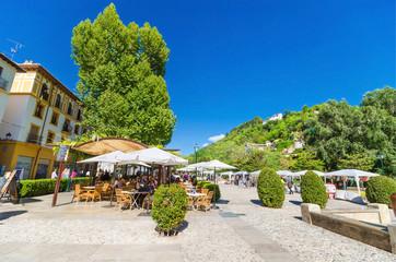 Terrace in Los tristes Boulevard near Alhambra,Granada,Spain.
