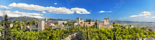 Panorama of the famous Alhambra palace in Granada, Spain. - 67141259