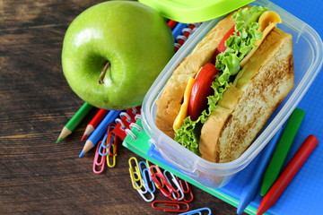 sandwich with cheese and tomato for a healthy school lunch