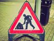 Retro look Roadworks sign