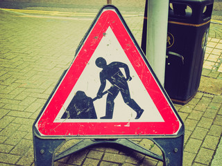 Retro look Roadworks sign