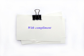 with compliment note isolated on white background