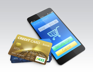 Credit card and smartphone isolated on gray background