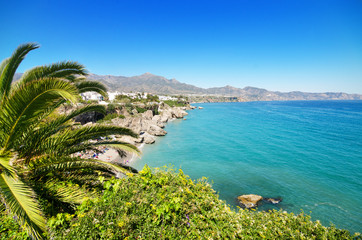 Nerja coastline, famous touristic town in Málaga, Spain.