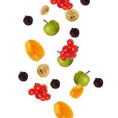 Fresh fruit skewers isolated on white
