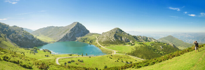Panorama of Lake Enol in Picos de Europa, Asturias, Spain