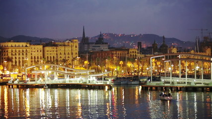 Barcelona and Mediterranean in night. Catalonia, Spain