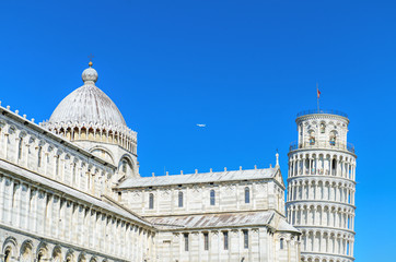 Pisa Tower view from miracle square. Pisa, Italy.