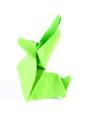 Origami rabbit, close up, isolated on white