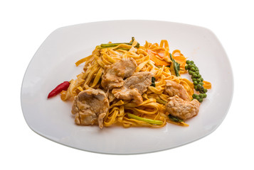 Fried noodles with pork