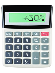 Calculator with +30% on display on white background
