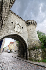 Tower and gate in the old medieval city of Tallinn, Estonia.