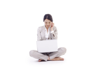 woman using laptop computer, isolated on white